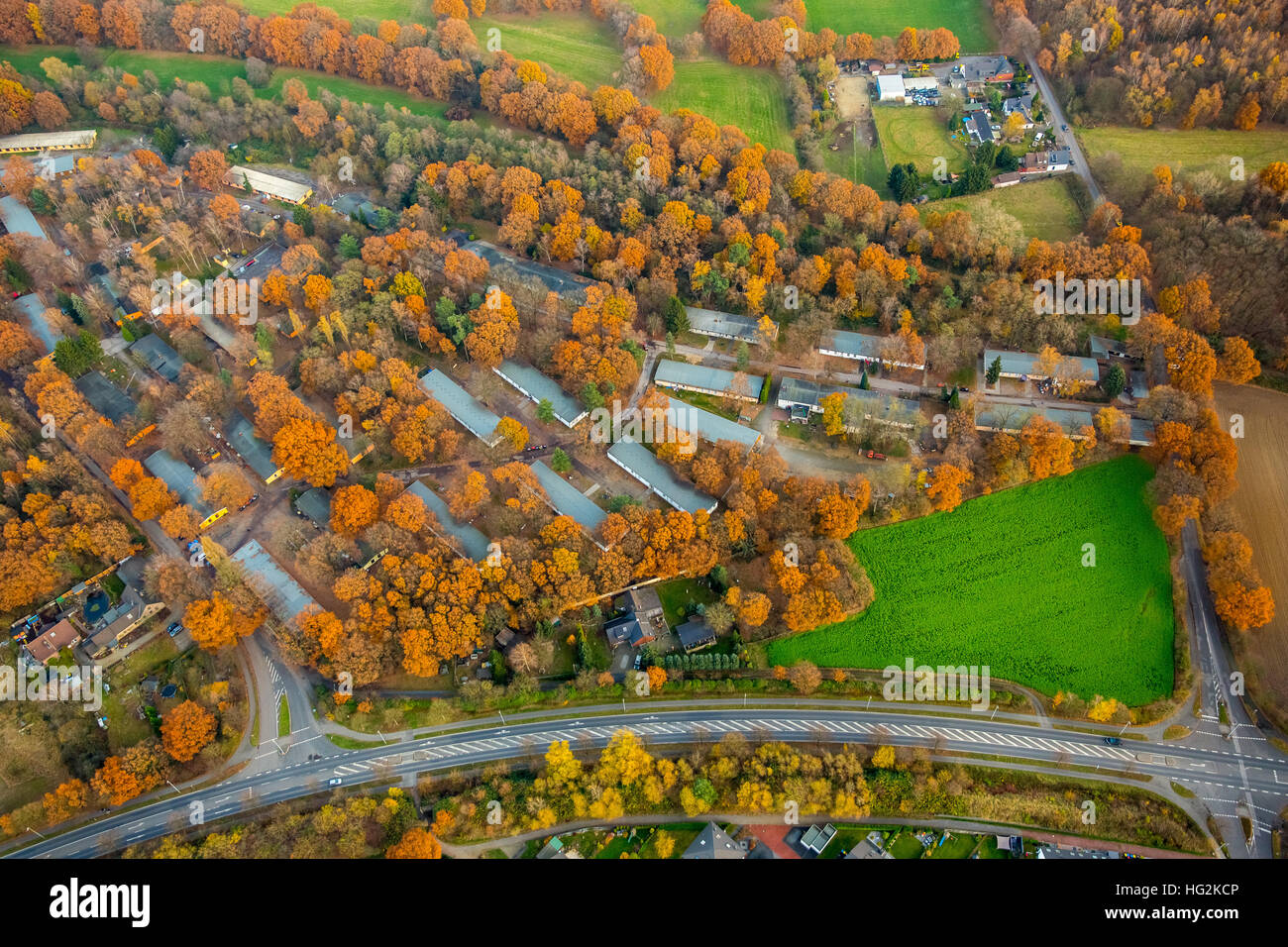 Aerial view, refugee camp of Caritas Dinslaken, unemployment project, at the Fliehburg, Dinslaken, Ruhr aeria, - Stock Image