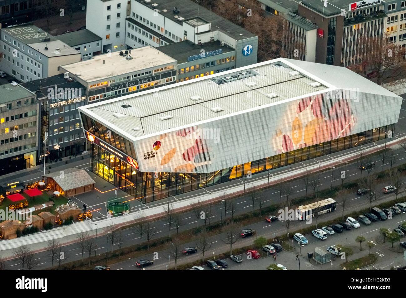 Aerial view, DFB Football Museum Dortmund at night, Football Museum, Dortmund, Ruhr aeria, north rhine-westphalia, - Stock Image