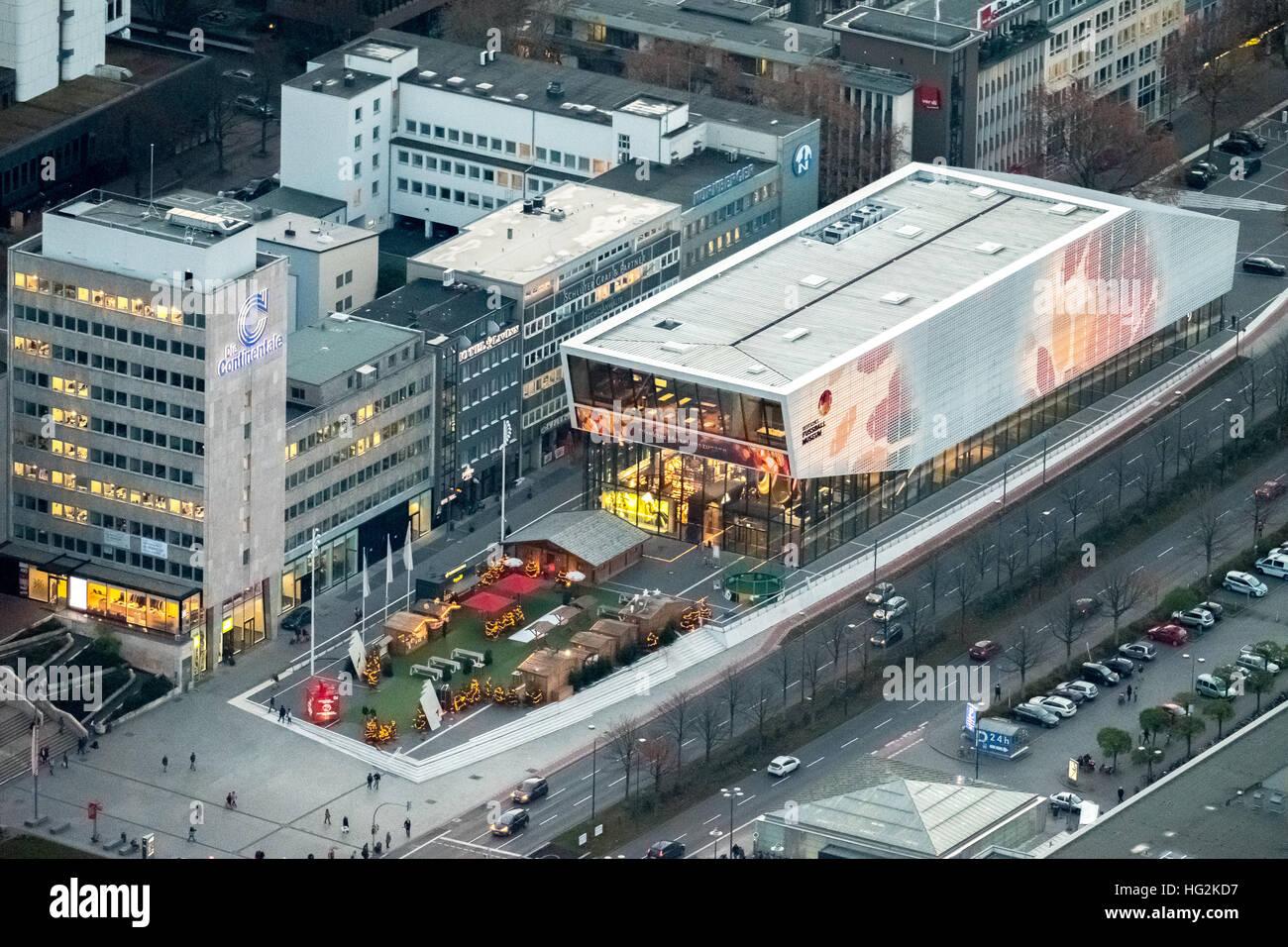 Aerial view, DFB Football Museum Dortmund at night, Football Museum, Dortmund, Ruhr aeria, north rhine-westphalia, Stock Photo