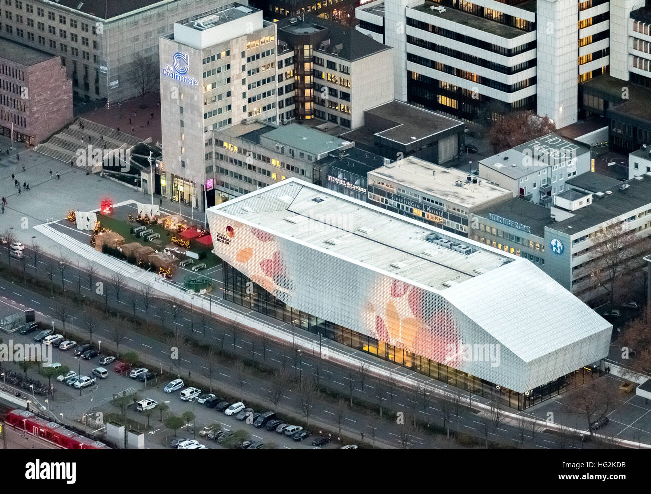 Aerial view, DFB Football Museum Dortmund at night, Football Museum, Dortmund, Ruhr aeria, north rhine-westphalia, Stock Photo