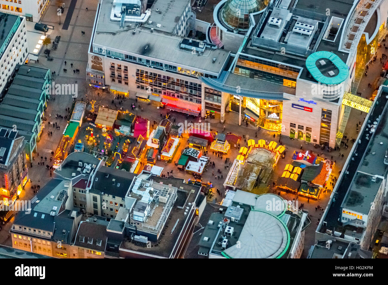 Aerial view, Christmas market and event stage at the Old Market, Dortmund, Ruhr aeria, north rhine-westphalia, Germany, - Stock Image