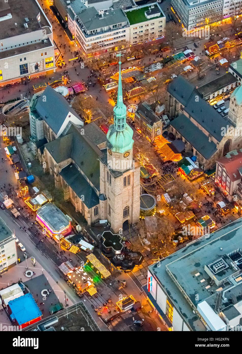 Aerial photo, Christmas market at the Reinoldi church, Ev. Parish Saint Mary, Dortmund, Ruhr aeria, north rhine - Stock Image