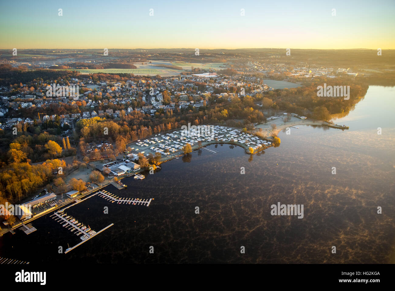 Aerial view, sunrise photographed over the Unterbacher lake off the plane, beach north beach, Dusseldorf, Rhineland, - Stock Image