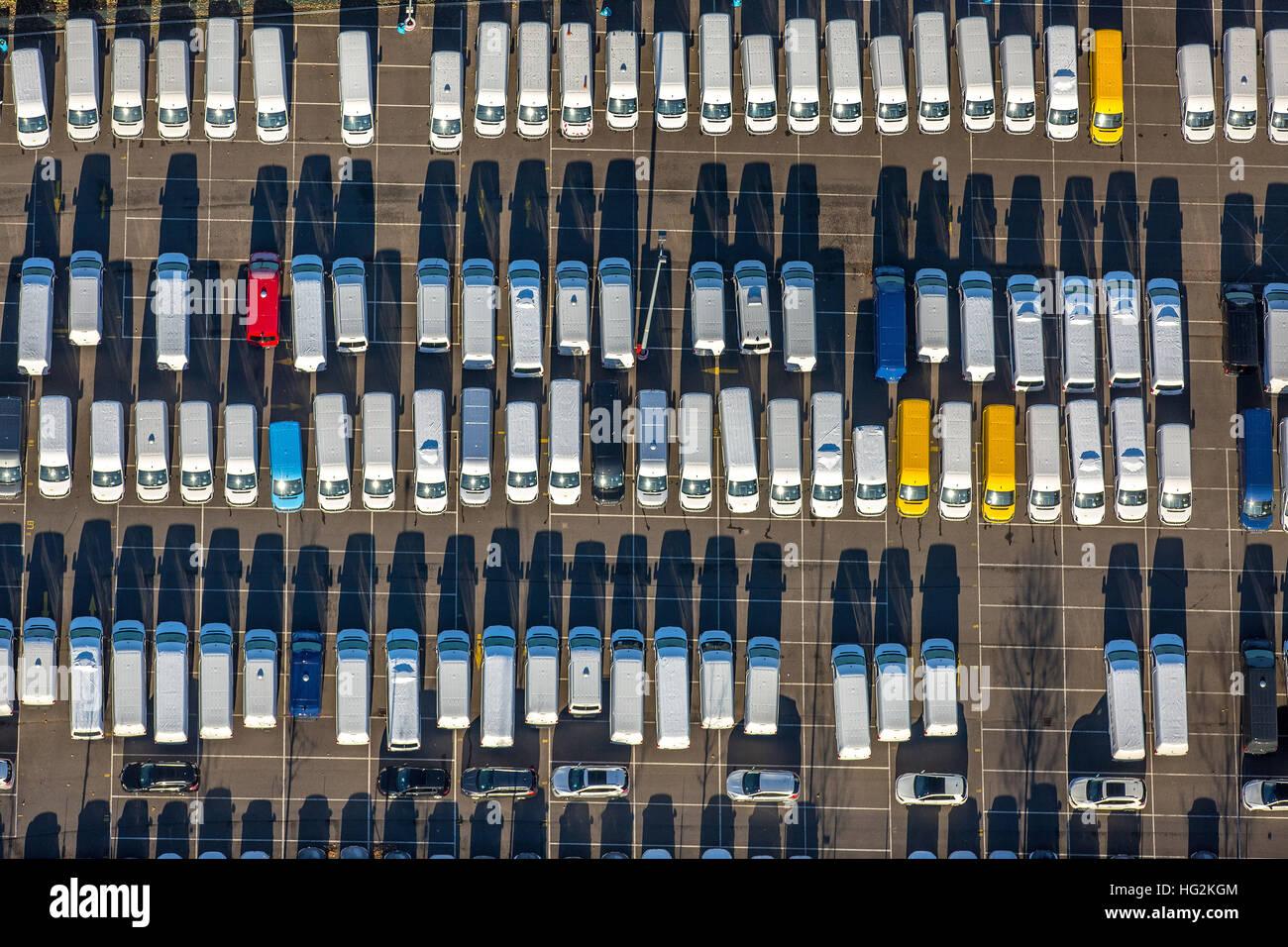 Aerial, Media Harbour, New Car parking Weizenmühlenstraße, campers, auto dump, new-Halde, Dusseldorf, - Stock Image
