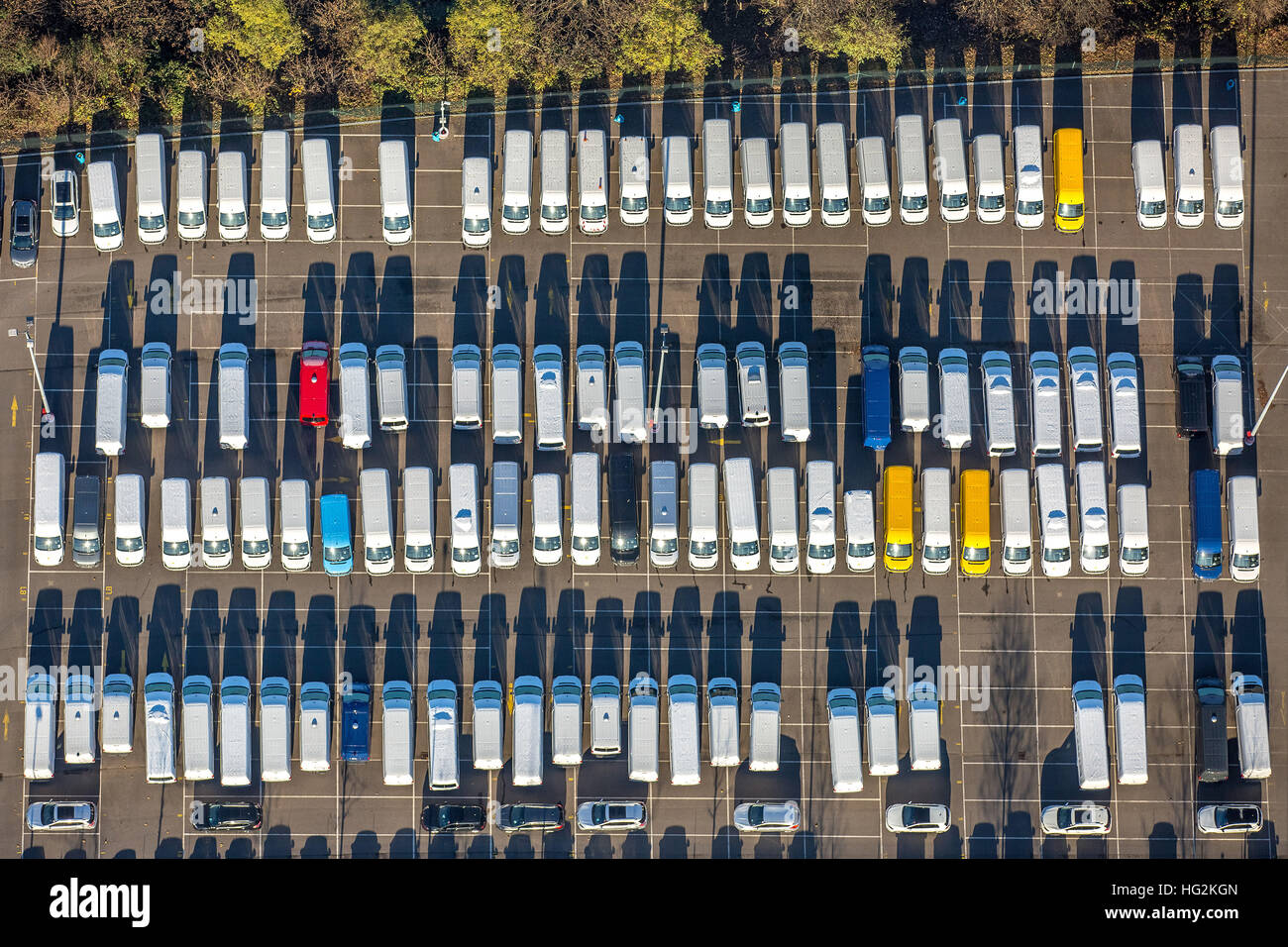 Aerial, Media Harbour, New Car parking Weizenmühlenstraße, campers, auto dump, new-Halde, Dusseldorf, Rhineland, Stock Photo