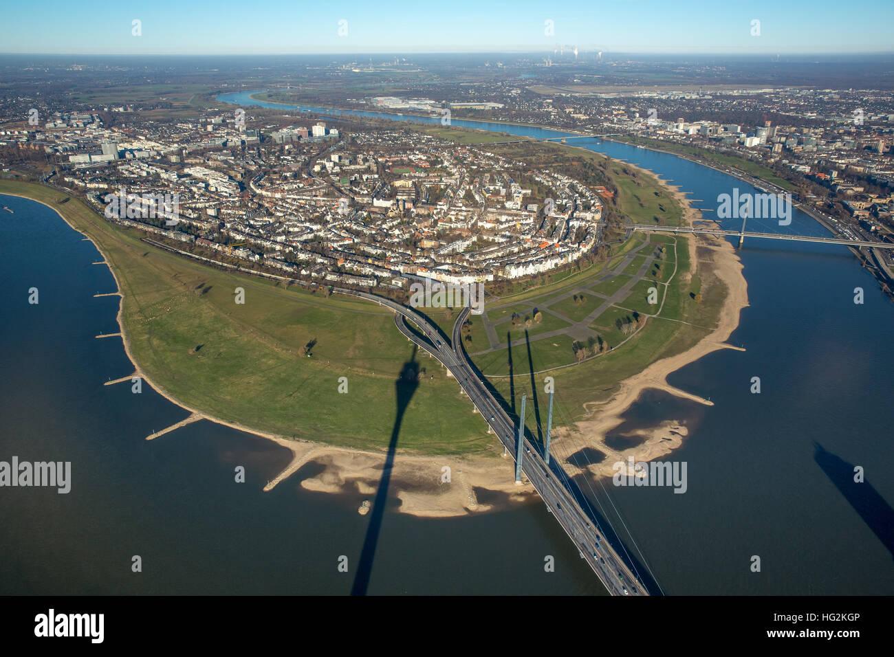 Aerial view, Rheinkniebrücke overlooking the Rhine bend of Oberkasselmit shadow of the TV tower Dusseldorf, - Stock Image