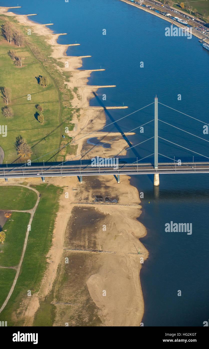 Aerial view, Rhine Oberkassel with Oberkassel Bridge, Dusseldorf, Rhineland, Ruhr aeria, north rhine-westphalia, - Stock Image