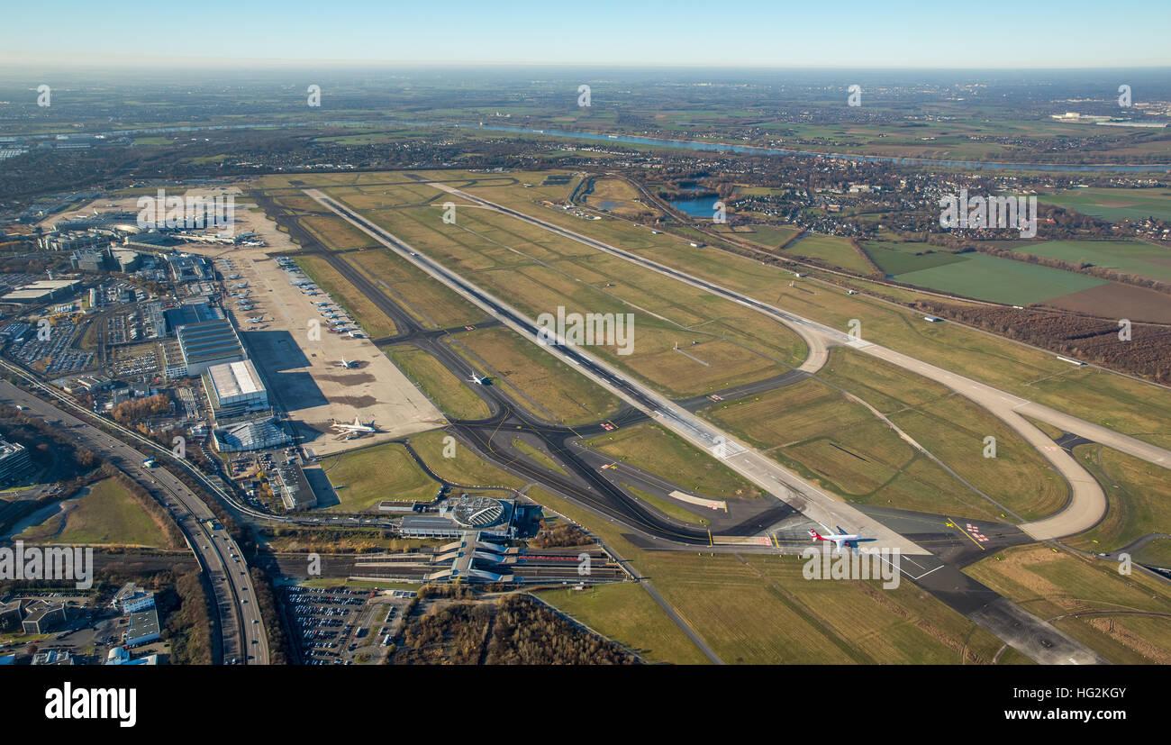 Aerial view, Dusseldorf EDDL airport, runway 23R and 23L, Dusseldorf, Rhineland, Ruhr aeria, north rhine-westphalia, - Stock Image