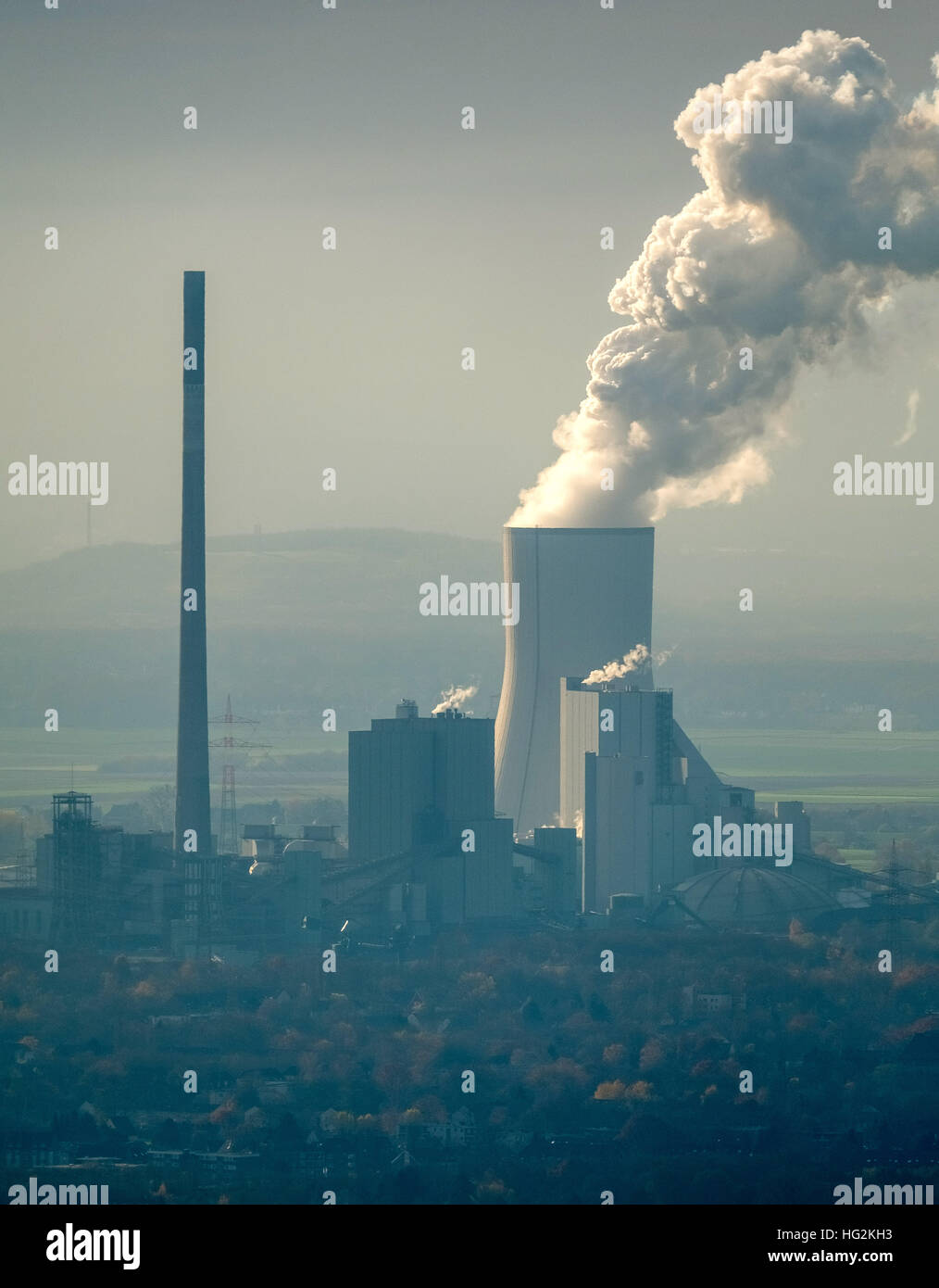 Aerial view, STEAG Walsum power plant, coal plant, fossil energy, cooling tower, smoke, Duisburg, Ruhr aeria, - Stock Image