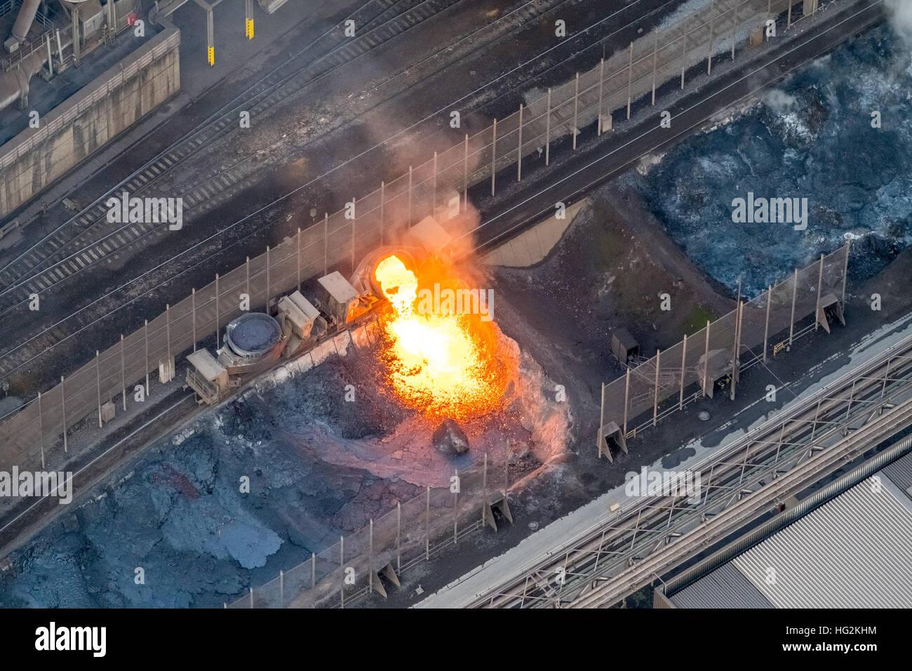 Aerial view, glowing slag, steel plant ThyssenKrupp Steel, steelmaking, Duisburg, Ruhr aeria, north rhine-westphalia, - Stock Image