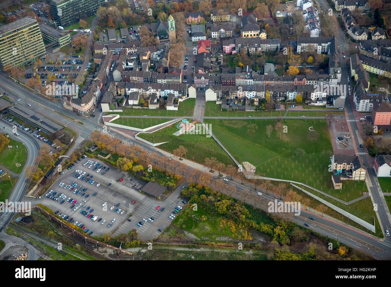 Aerial view, greenbelt Bruckhausen Kaiser Wilhelmstrasse, social focus, Duisburg, Ruhr aeria, north rhine-westphalia, - Stock Image