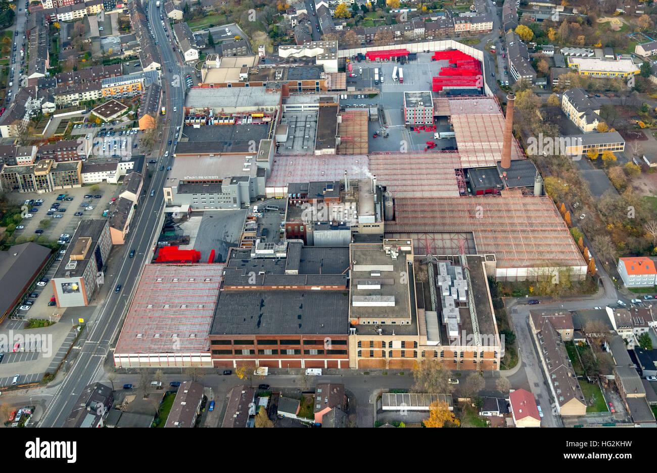 Aerial view, König-Brauerei GmbH, könig brewery, beer, Köpi Beer Duisburg, Beeck, district of Duisburg - Stock Image