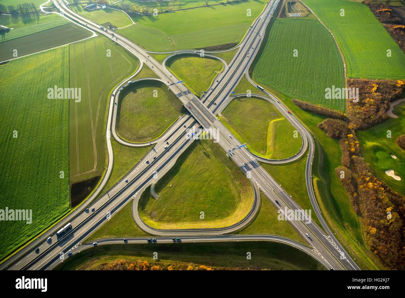 Aerial view, interchange interchange Duisburg-South, Highway 59 and federal highway B288, Duisburg, Dusseldorf, - Stock Image