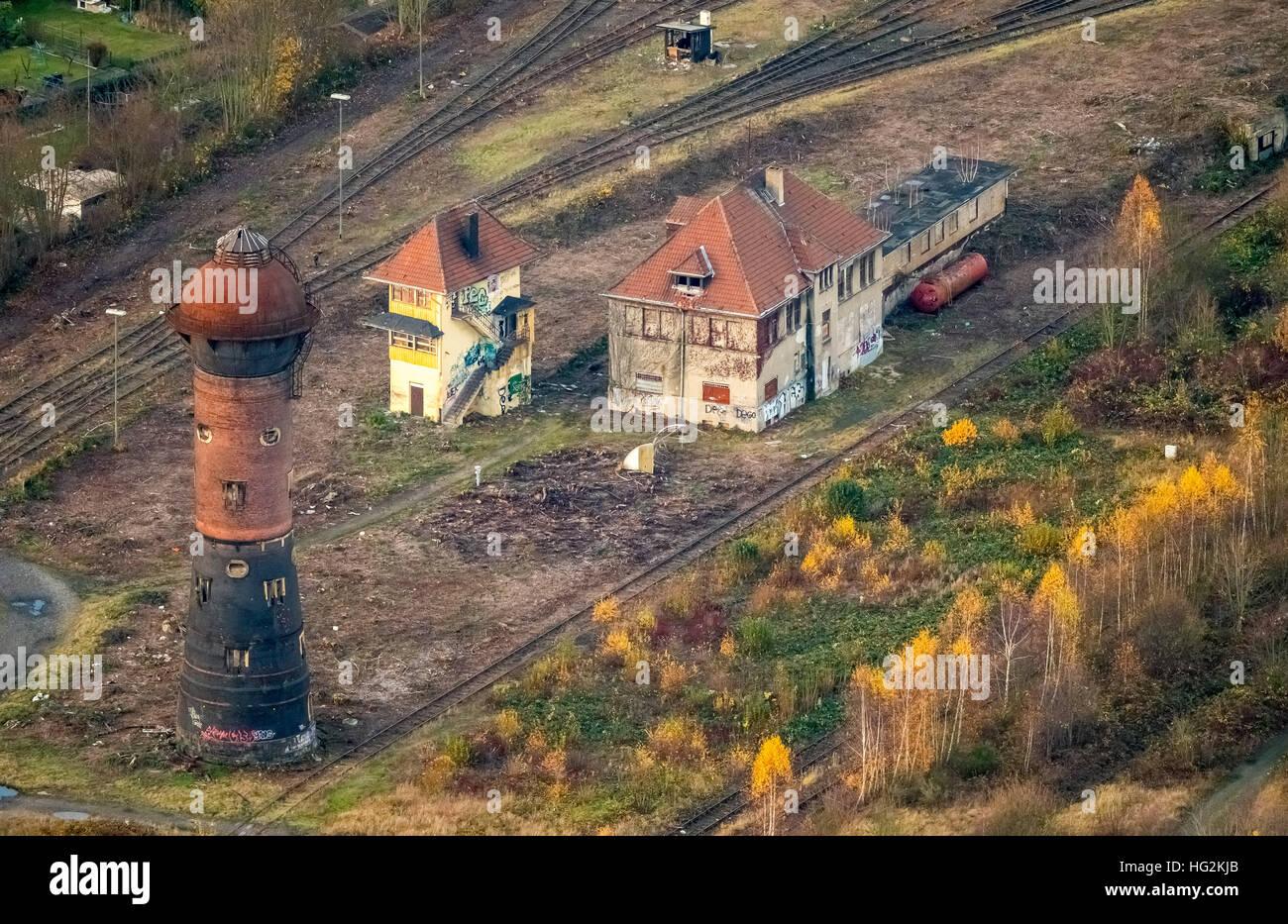 Aerial view, Duisburg Bissingheim Duisburg Wedau old water tower Bissingheim, Duisburg, Ruhr aeria, north rhine - Stock Image