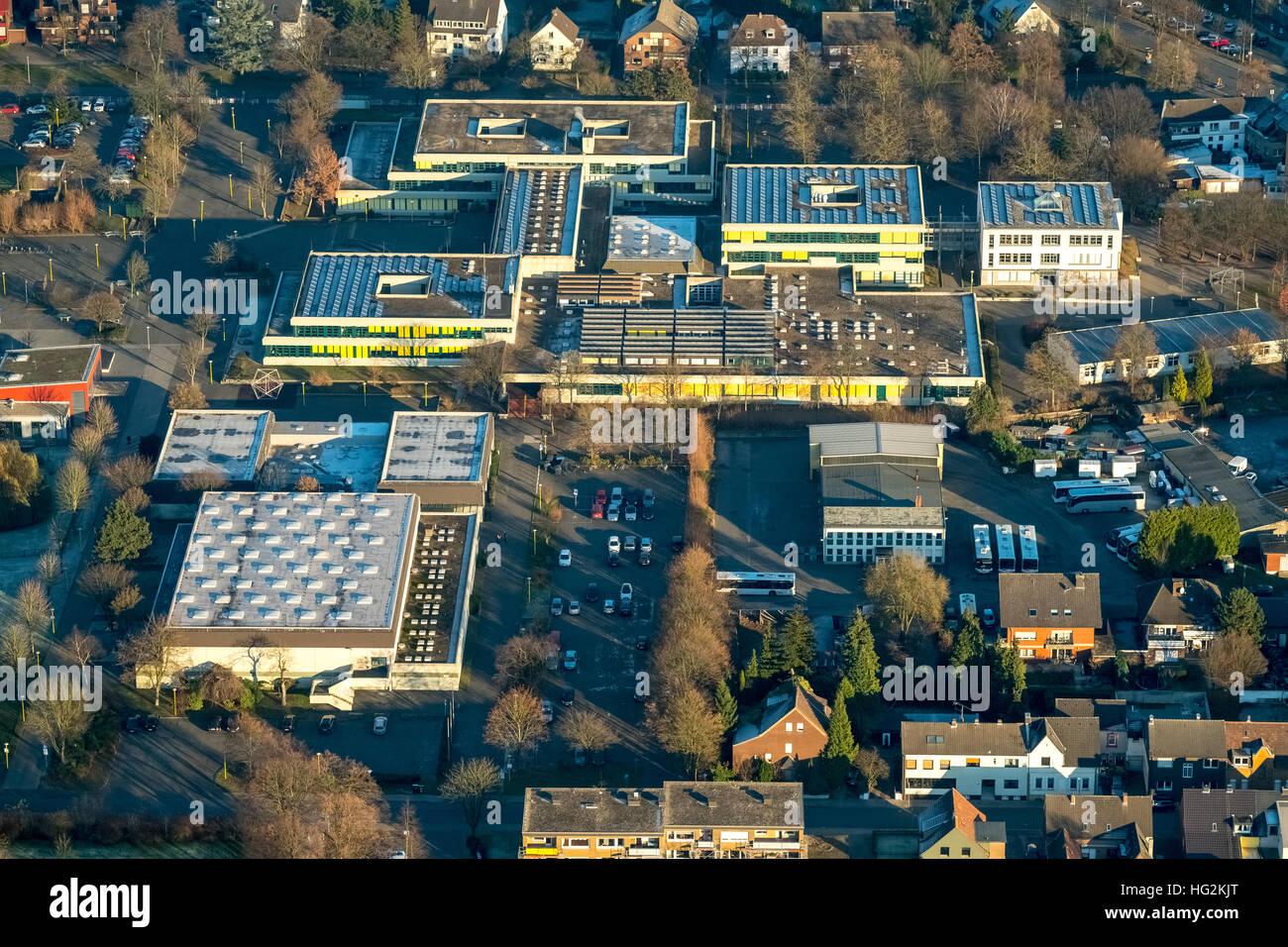 Aerial view, Joseph-König-Gymnasium, Alexander-Lebenstein-Realschule, Haltern am See, Münsterland, Ruhr - Stock Image