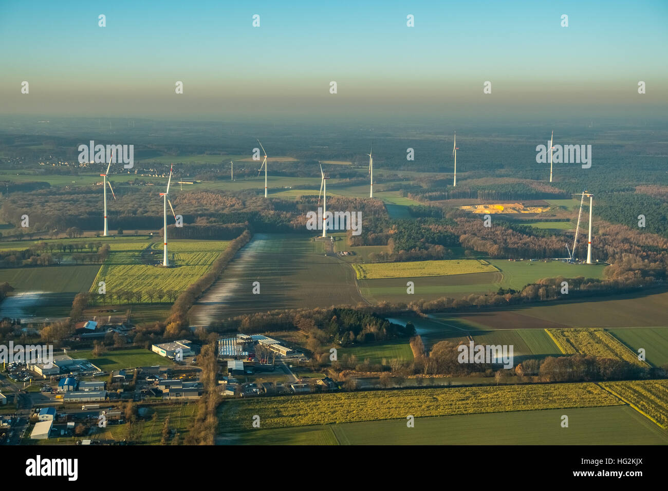 Aerial view, wind power plant, wind farm Uphusen between Lavesumer street and Münsterstraße, construction - Stock Image