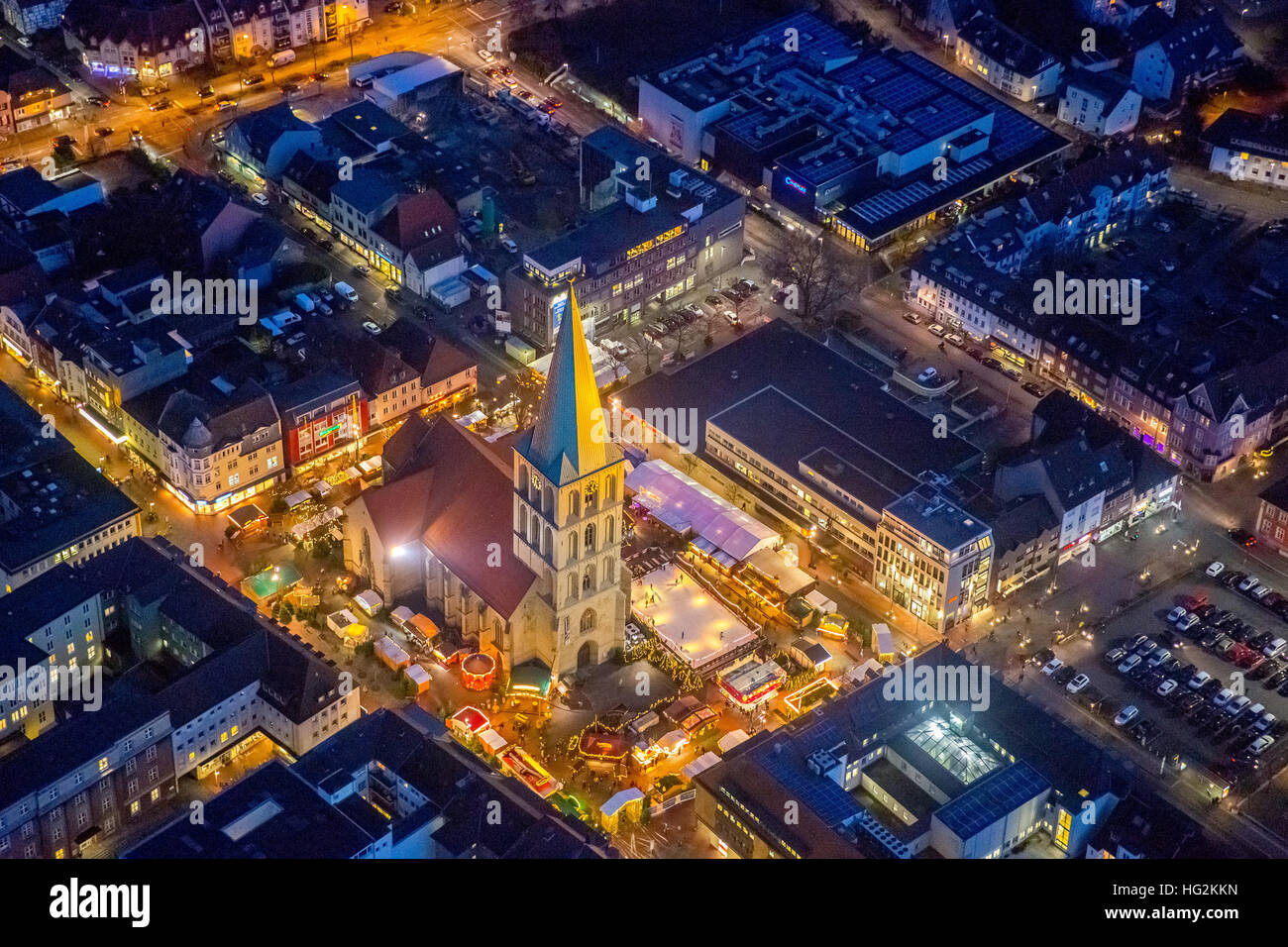 Aerial view, Christmas market at the Paulus church, Pauluskirche Hamm with Christmas Market and West Street, Hamm, Stock Photo