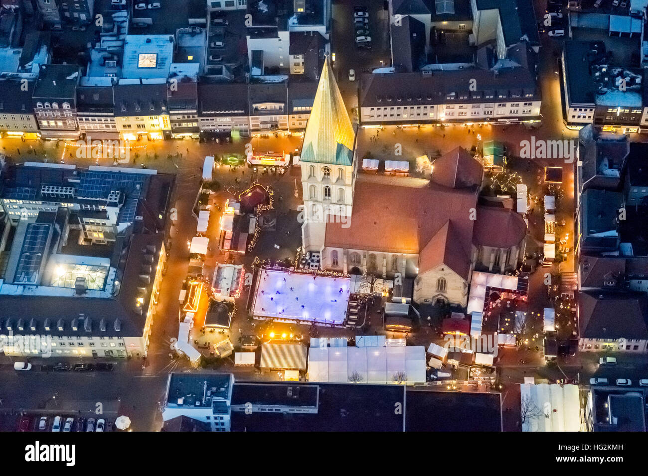 Aerial view, Christmas market at the Paulus church, Pauluskirche Hamm with Christmas Market and West Street, Hamm, - Stock Image