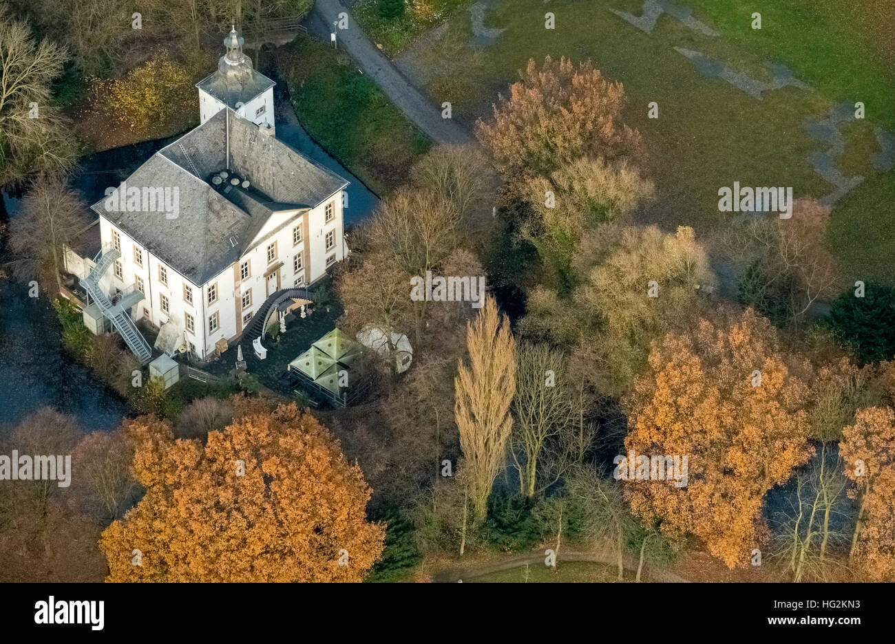 Aerial view,  water castle Wasserschloss Haus Voerde Voerde, Ruhr area, north rhine-westphalia, Ruhr aeria, - Stock Image