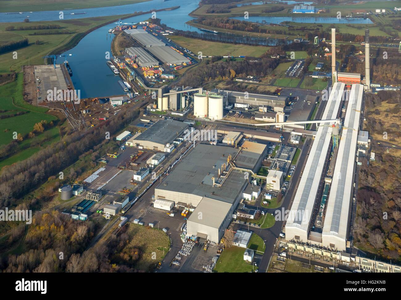 Aerial view, TRIMET Aluminium SE, aluminum plant, Friedrichsfeld, Voerde, Ruhr area, north rhine-westphalia, Ruhr - Stock Image