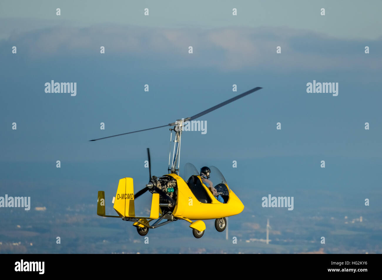 Aerial view, Gyrocopter over Witten, D-MCMD, Ultra Leichhardt aircraft, sports equipment, fly, Witten, Ruhr area, - Stock Image