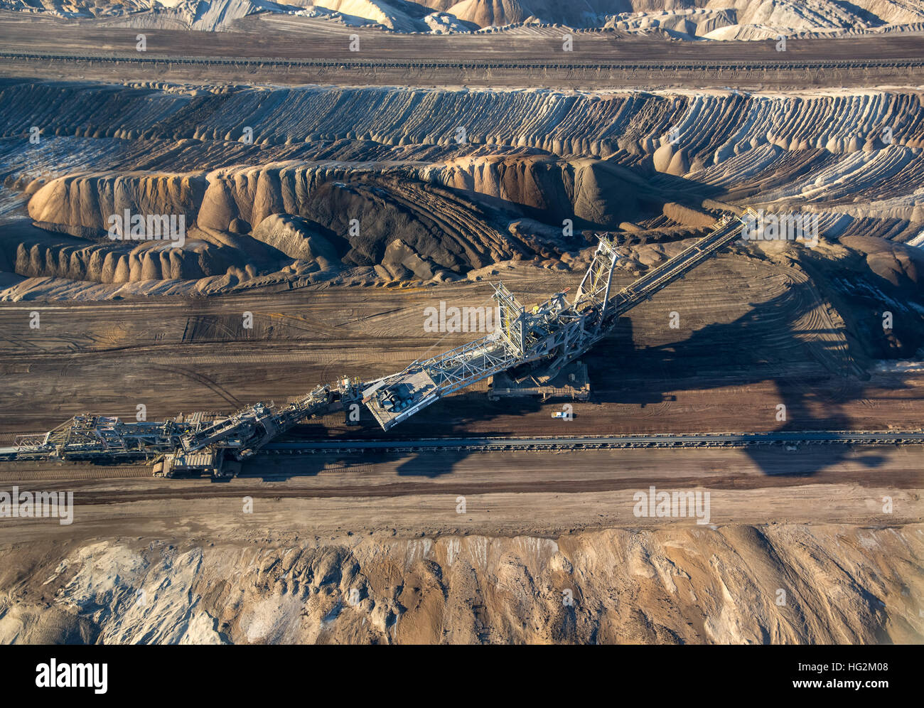 Aerial view, brown coal excavator in lignite opencast Garzweiler, excavator buckets, Erkelenz, Dormagen, rhineland, Stock Photo