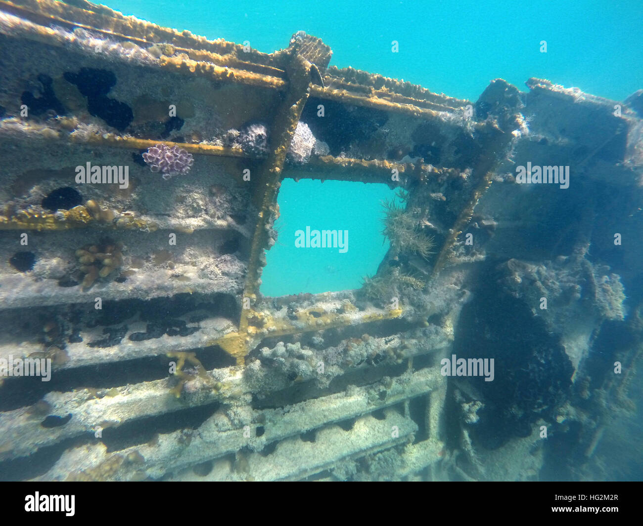 Part of the the plane wreck of Norman's Cay, Bahamas Stock