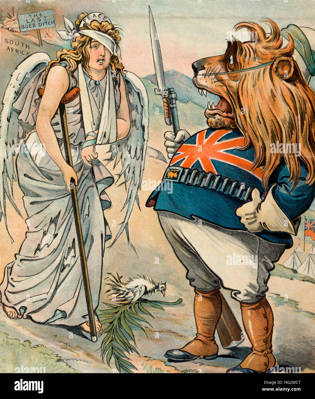 A Misunderstanding - Political Cartoon showing the British Lion, wearing a military uniform, aghast by the tattered - Stock Image