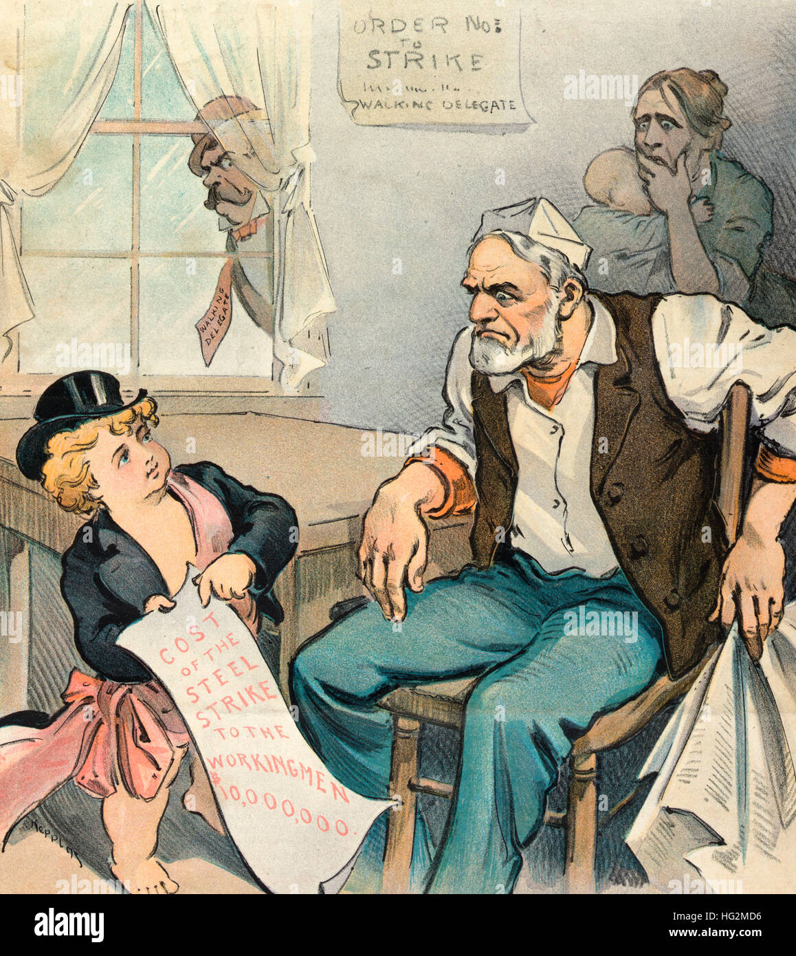 A strike preventive -  Political Cartoon shows Puck talking to a laborer who is sitting at home, on strike; Puck - Stock Image