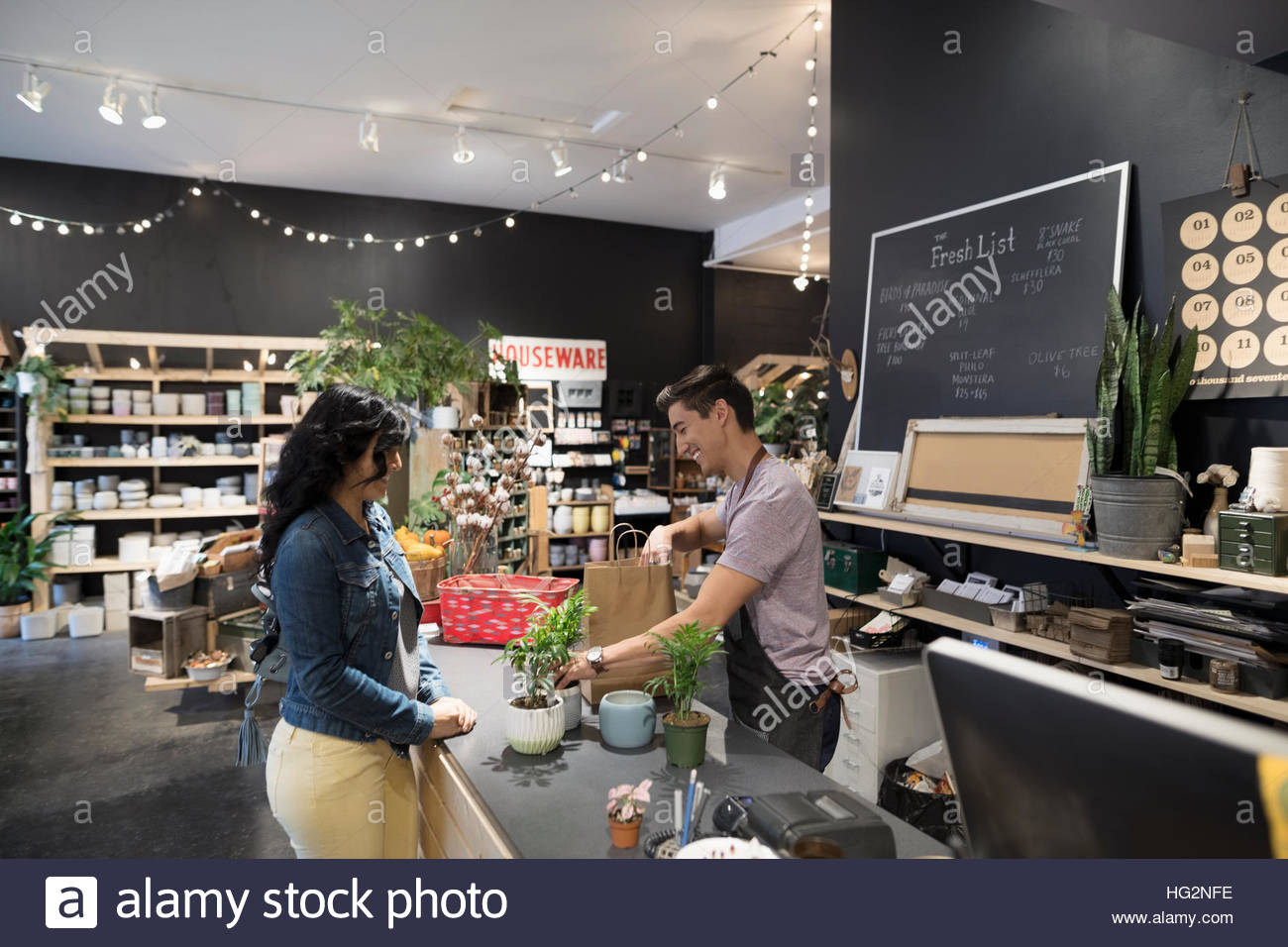 Male shop owner helping female customer buying plants at shop counter - Stock Image