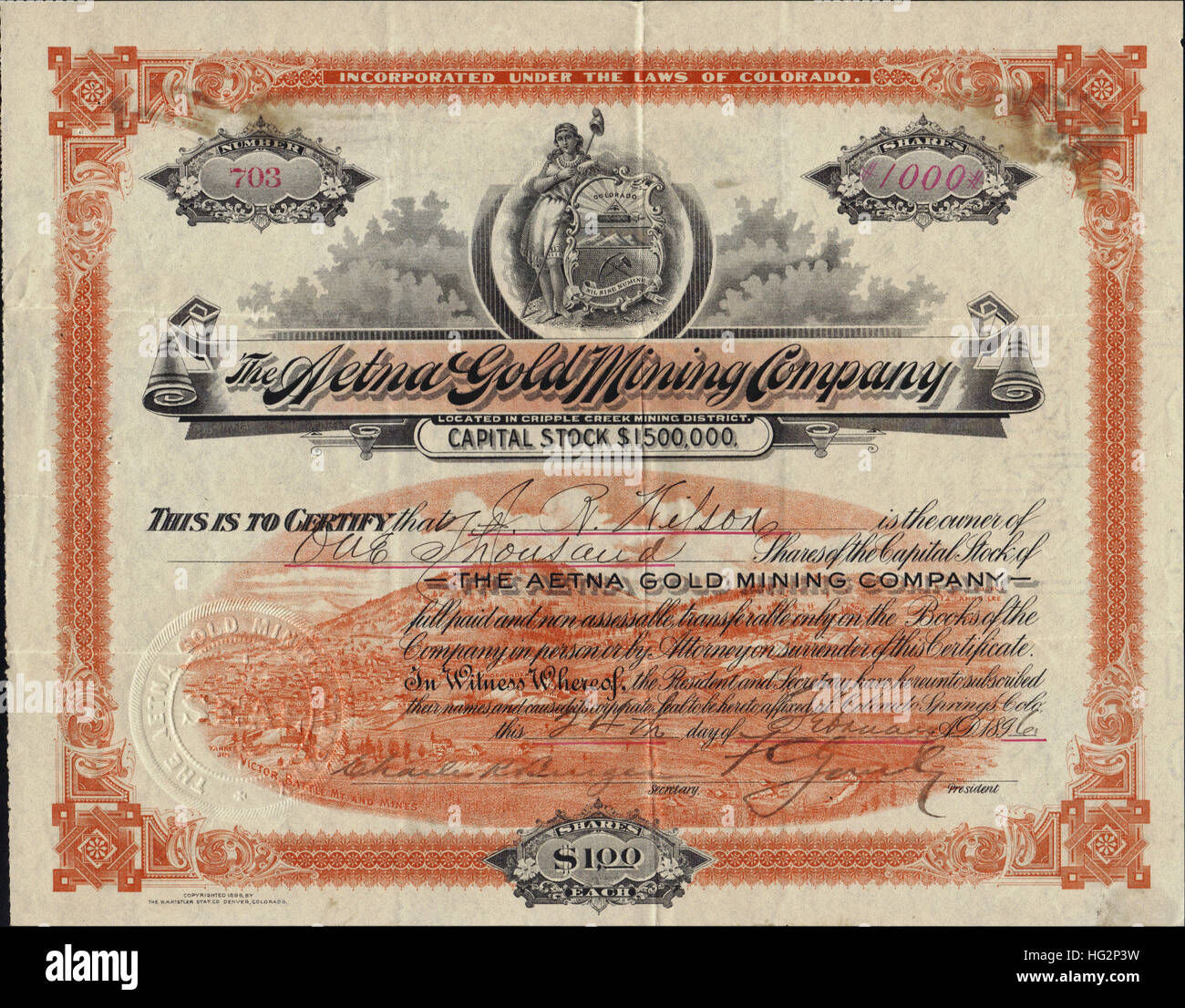 Rockwell Manufacturing Company Stock Certificate