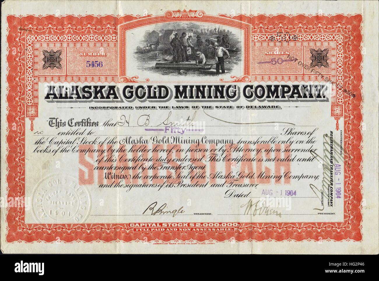 1904 Alaska Gold Mining Company Stock Certificate - USA - Stock Image