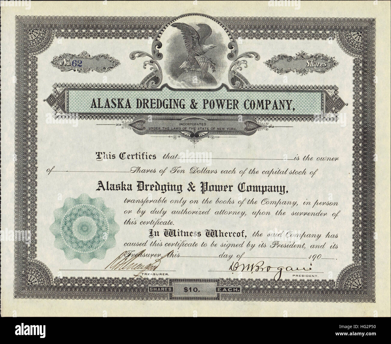 Early 1900s Alaska Dredging and Power Company Stock Certificate - USA - Stock Image