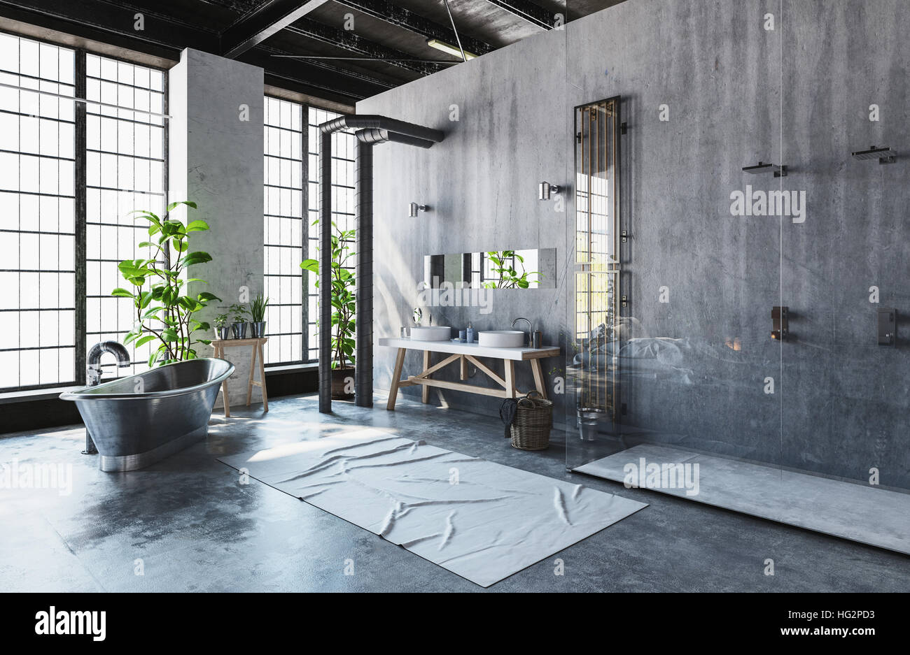Modern industrial loft conversion into a hipster
