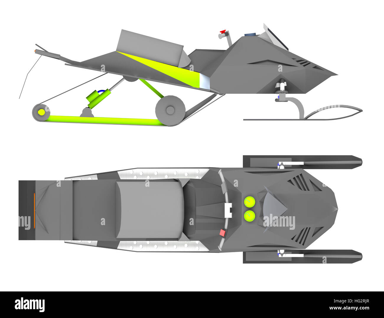 snowmobile side and top view. 3d rendering - Stock Image