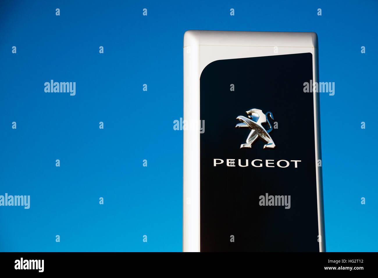 Peugeot sign UK. - Stock Image