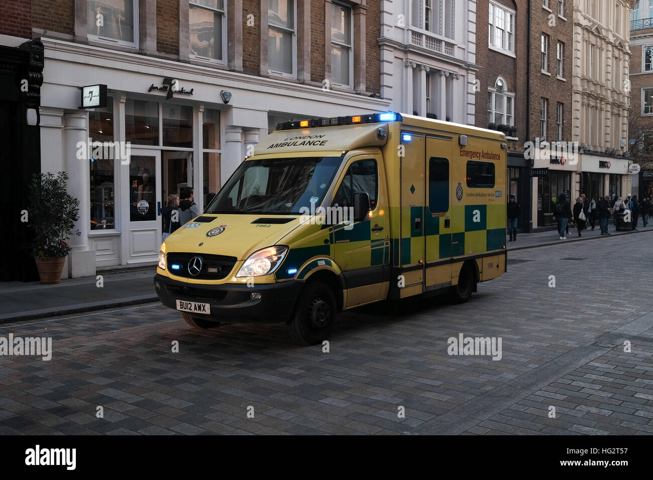 London Ambulance attending an emergency call out in Covent