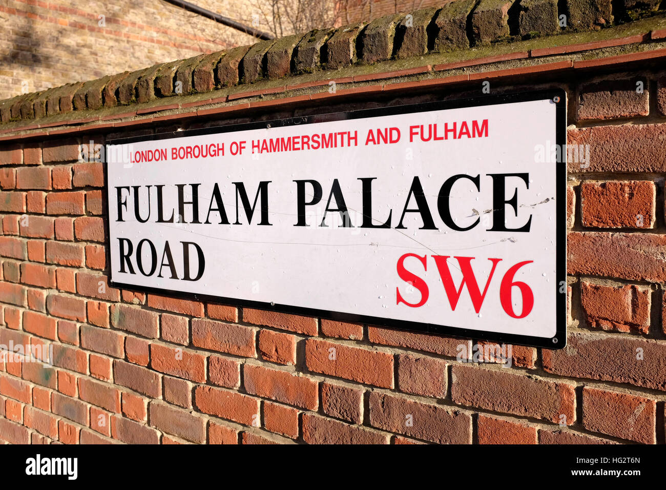 Borough of Hammersmith and Fulham in West London - Fulham Palace Road sign - Stock Image