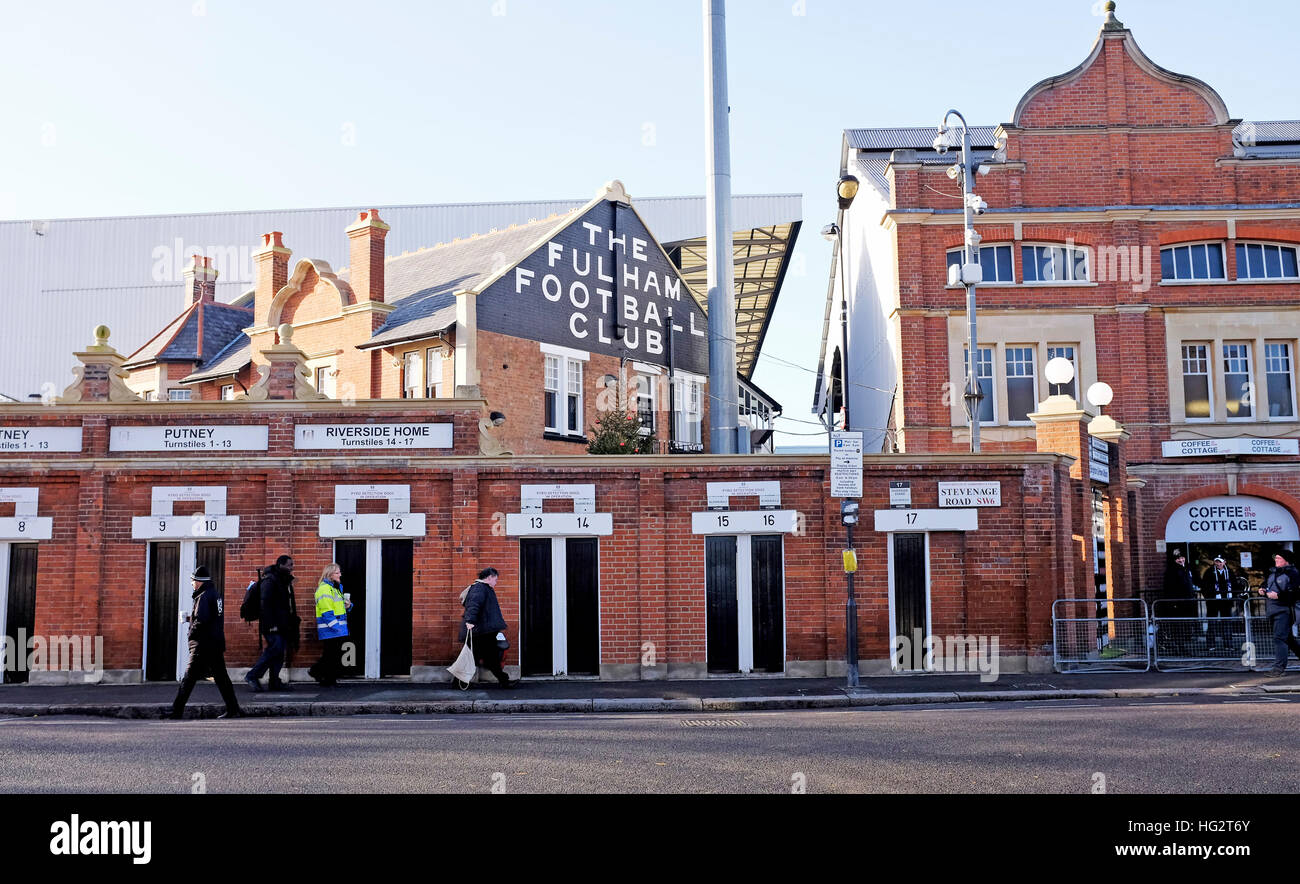 Borough of Hammersmith and Fulham in West London - Craven Cottage stadium home of Fulham football club  Photograph - Stock Image