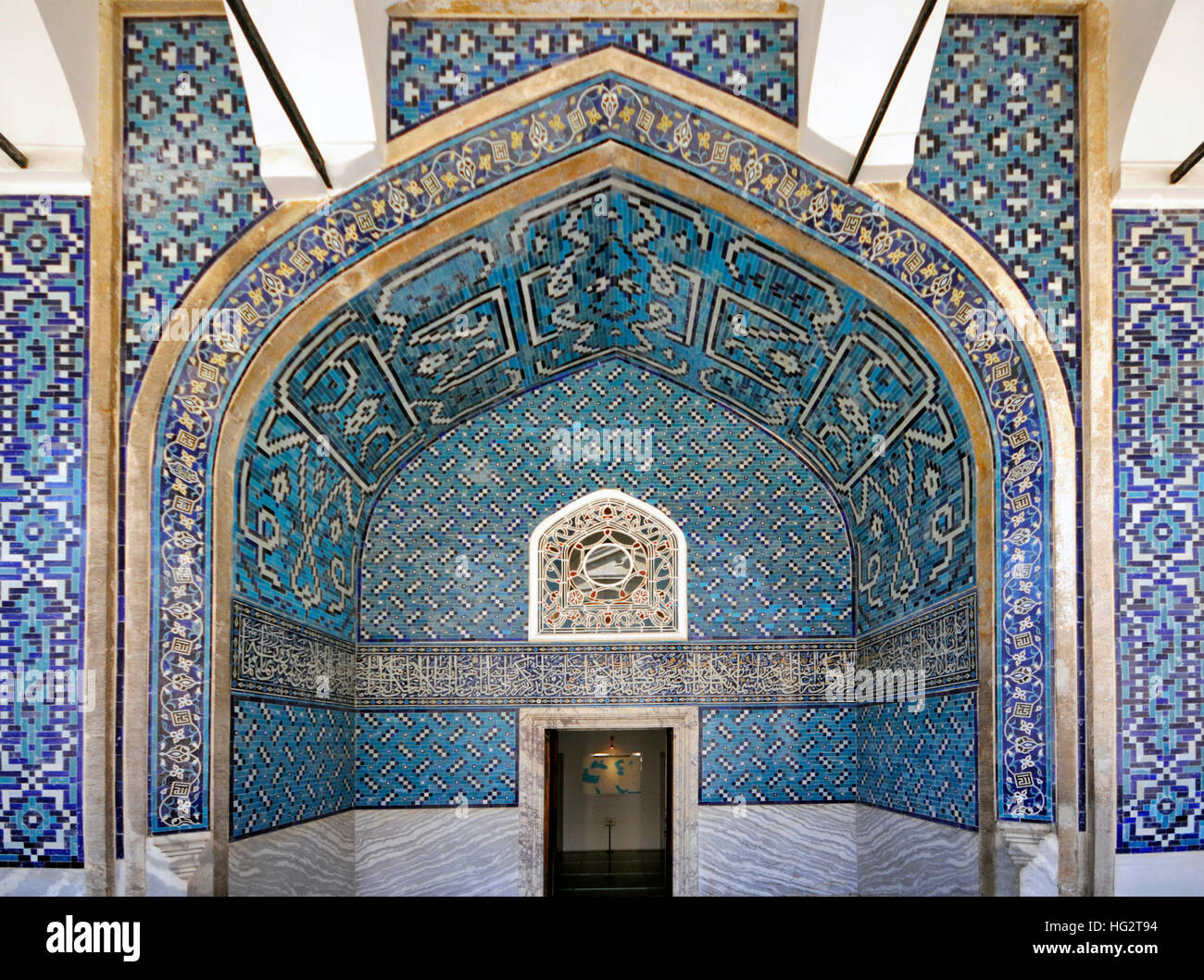The Tiled Kiosk is a pavilion set within the outer walls of Topkapı Palace and dates from 1472 as shown on the tile - Stock Image