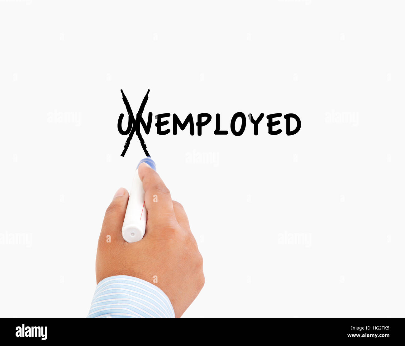Turning the word Unemployed into Employed, business concept - Stock Image