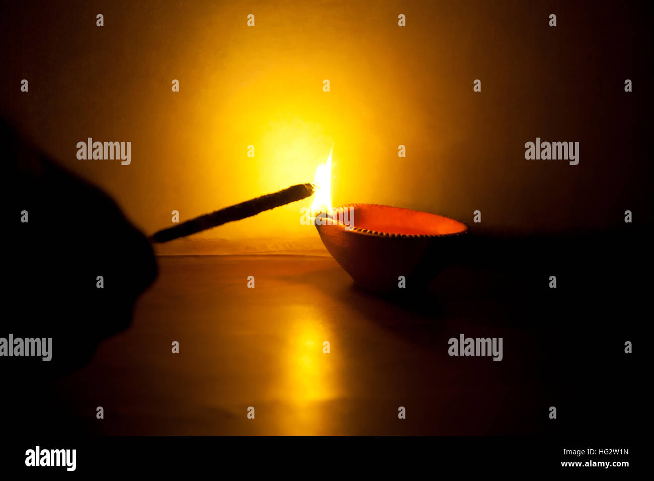 Person burning crackers on Diwali Stock Photo