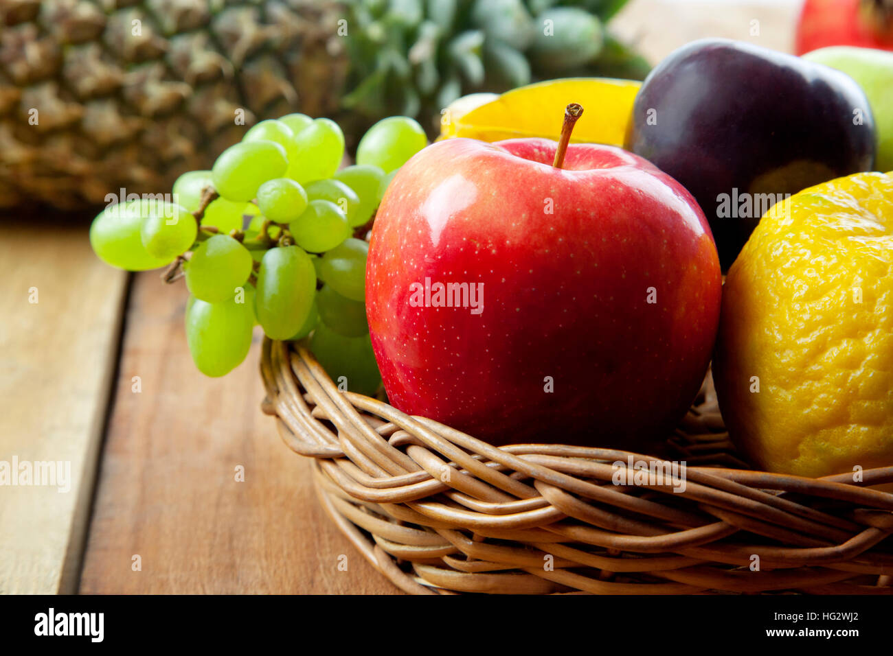 Wicker Basket Filled With Fresh Fruits Stock Photo 130371082 Alamy