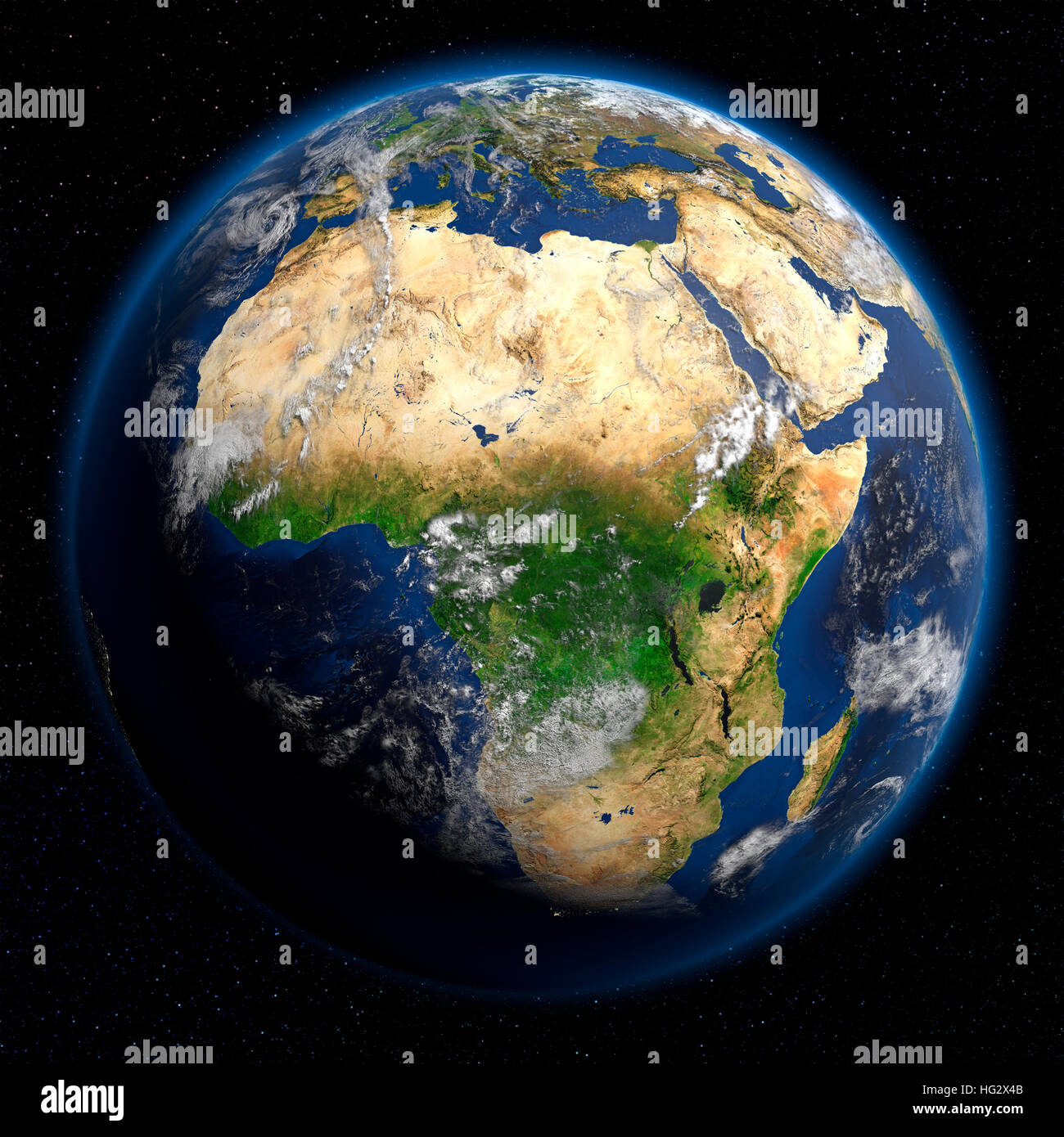 Earth viewed from space showing Africa. Realistic digital Stock