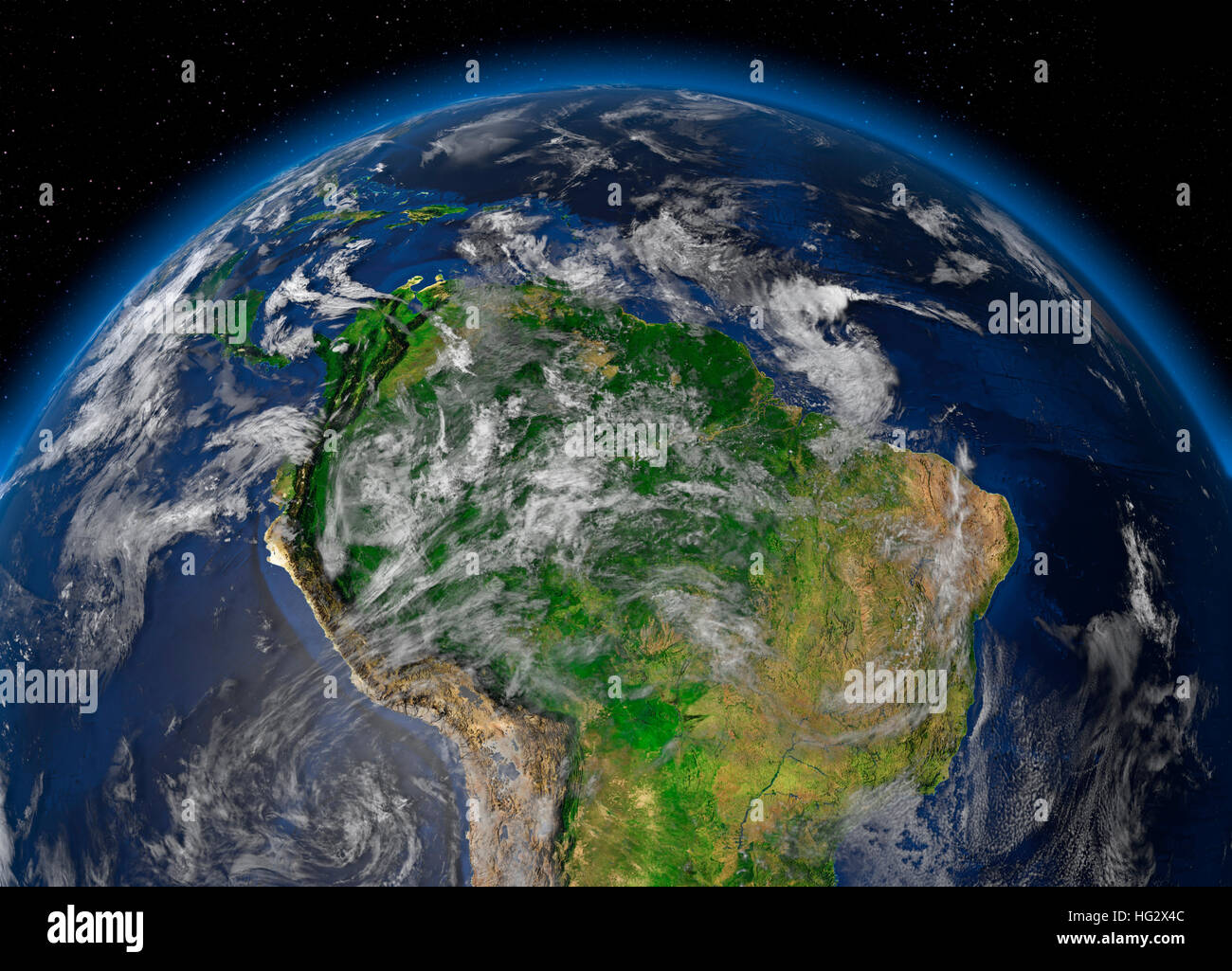 Earth viewed from space showing Amazon rainforest. Realistic digital illustration including relief map hill shading - Stock Image