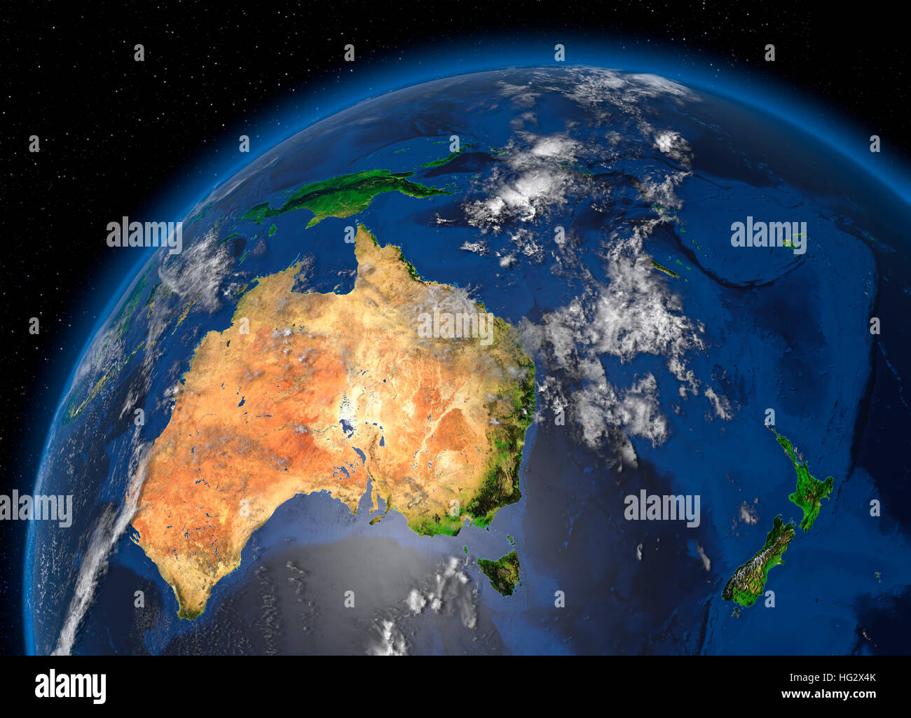 Map Of Australia From Space.Earth Viewed From Space Showing Australia Realistic Digital Stock