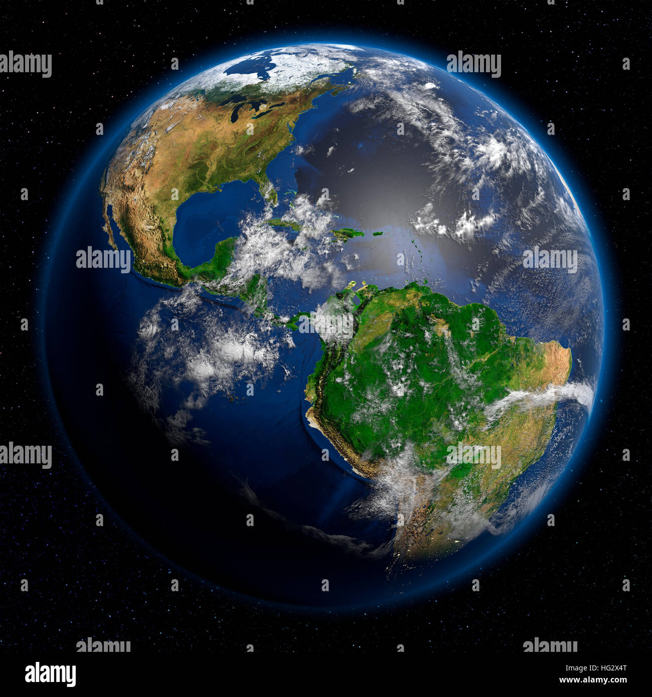 Earth viewed from space showing Central and Latin America. Realistic digital illustration including relief map hill - Stock Image