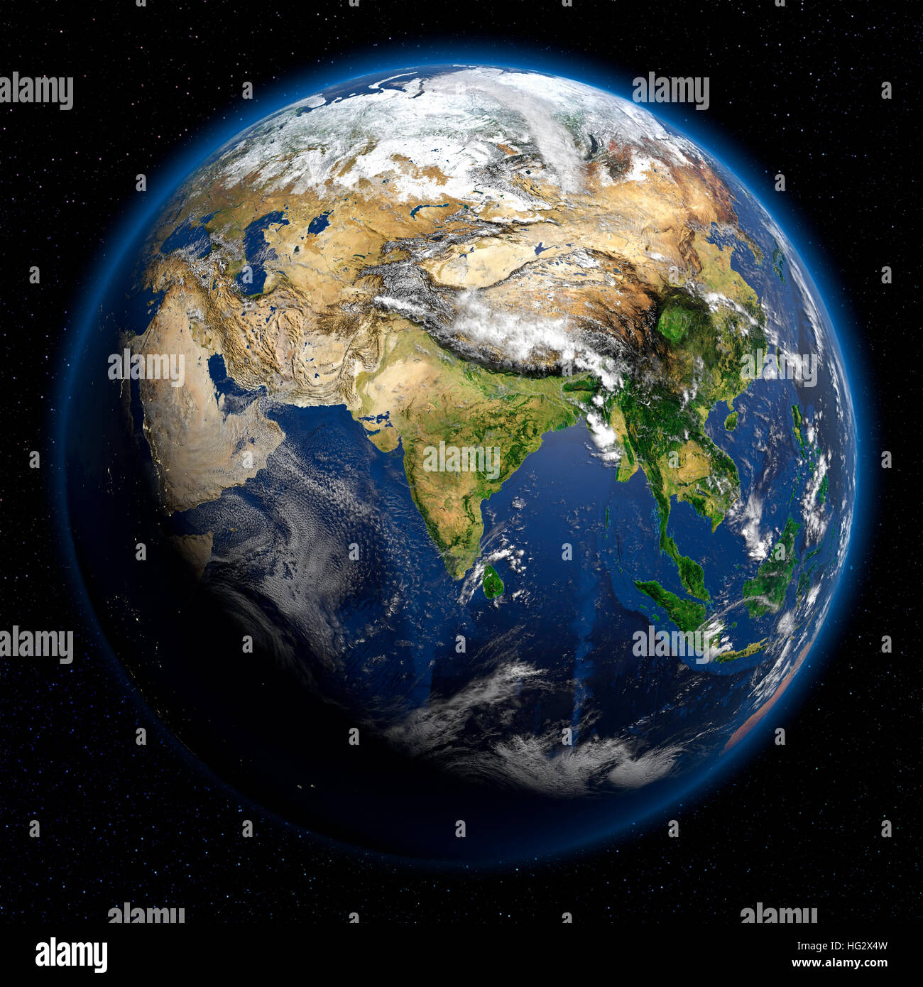 Earth viewed from space showing Central Asia. Realistic digital illustration including relief map hill shading of - Stock Image