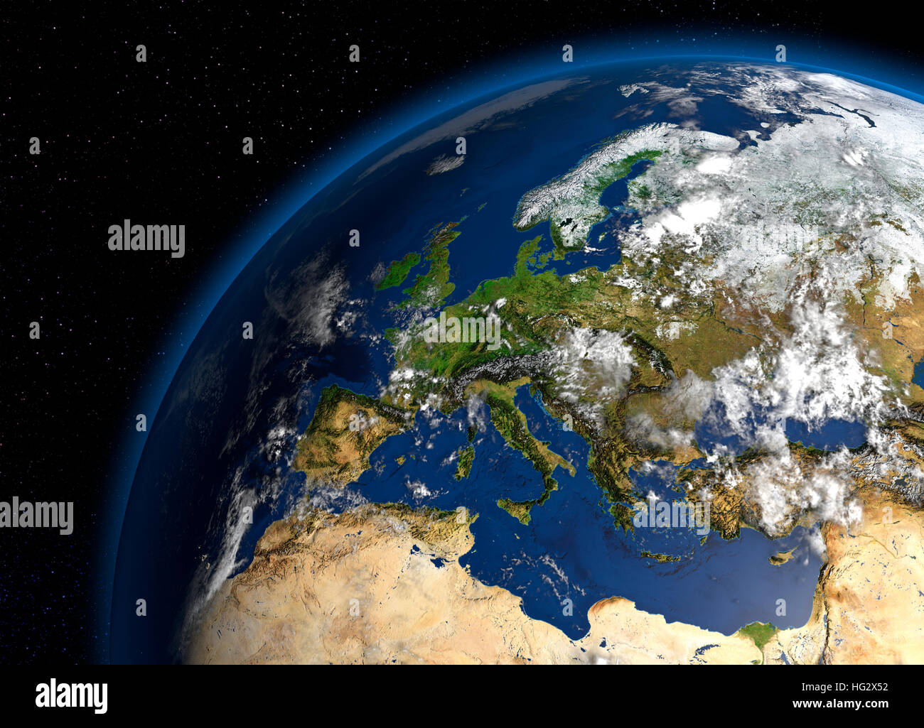 Earth viewed from space showing Europe. Realistic digital illustration including relief map hill shading of terrain. - Stock Image