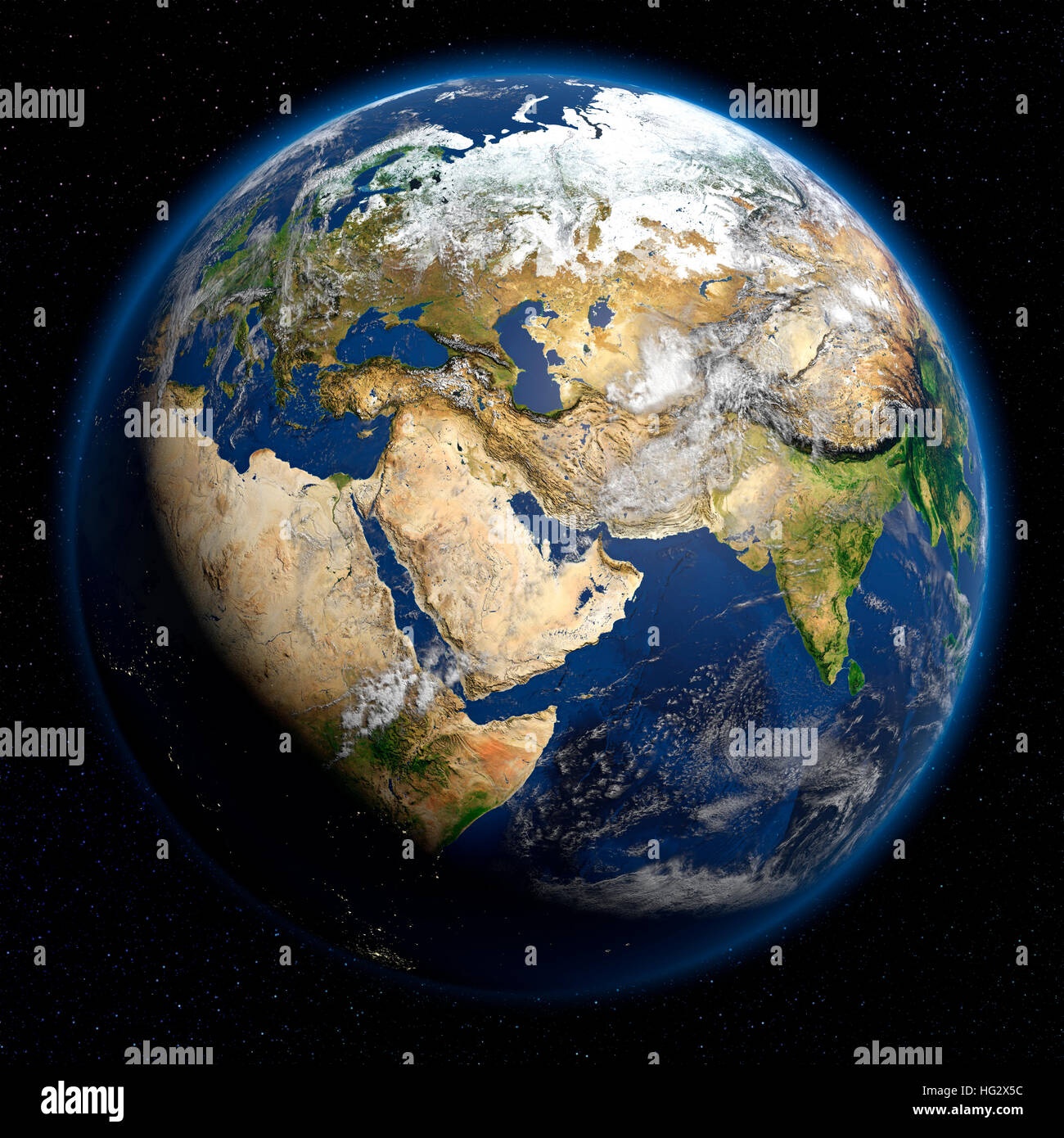 Earth viewed from space showing Middle East. Realistic digital illustration including relief map hill shading of - Stock Image